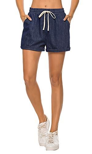 - AvaCostume Women's Plus Size Summer Drawstring Elastic Waist Beach Casual Cotton Shorts Denim Blue M