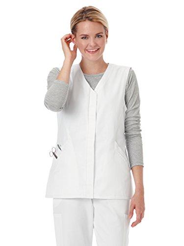 Fundamentals 14752 Women's Hidden Placket Button Front Scrub Vest White M