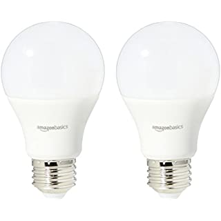 AmazonBasics 40 Watt Equivalent, Daylight, Dimmable, A19 LED Light Bulb | 2-Pack