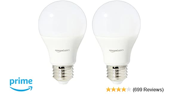 Amazonbasics 60 Watt Equivalent Daylight Dimmable A19 Led Light Bulb 2 Pack