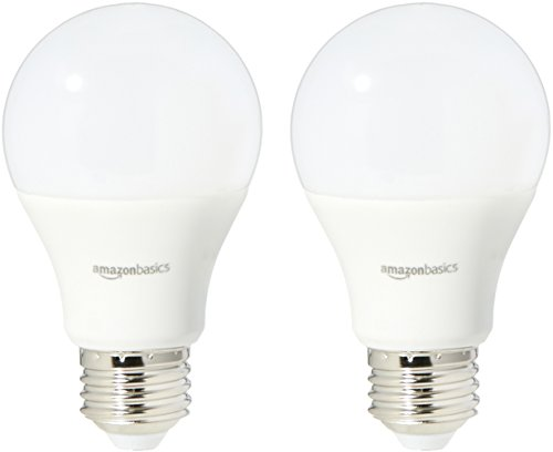 AmazonBasics 60 Watt Equivalent, Daylight, Dimmable, A19 LED Light Bulb | 2-Pack