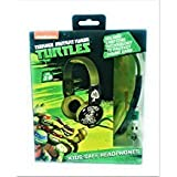 TMNT Teenage Mutant Ninja Turtles Ninja Warrior Print Over The Ear Kid Safe Headphones Limiting Technology to Protect Young Ears Raphael Donatello Michelangelo Leonardo