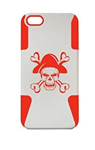 PLASTIC & SILICON RED/WHITE CASE FOR IPHONE 5/5s PIRATE COVER