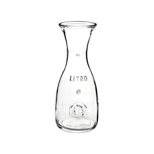 Bormioli Rocco Misura PZ Wine Carafe - Wide Mouth Clear Glass Carafe Pitcher For Water, Juice, Milk, Coffee, Iced Tea - Elegant Bistro Style Carafe Decanter With Authenticity Stamp - Made In Italy ()