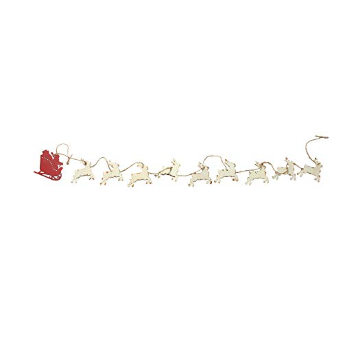Midwest Gloves 5.5' Weathered Galvanized Metal Santa's Sleigh with Reindeer Christmas Garland - Unlit