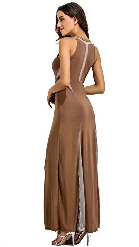 f9673492370 ... Column Taille Kaffee Ausgestellte Lange Blockfarben Arm Netzeinsatz  Kleid Kontrastfarbe Maxi A-linie Ohne A ...