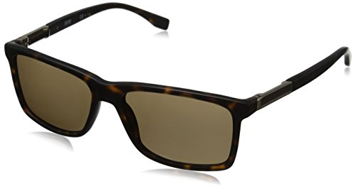 BOSS by Hugo Boss Men's B0704PS Polarized Rectangular Sunglasses, Dark Havana Light Gold & Bronze Polarized, 57 mm
