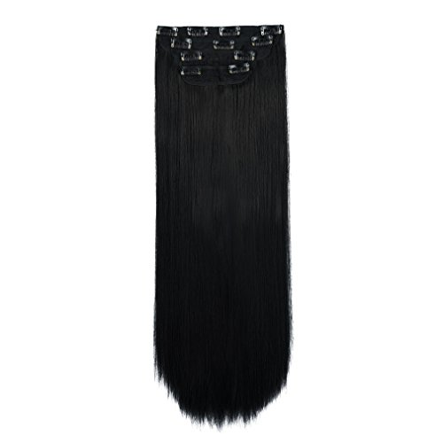 """REECHO 16"""" Straight Short 4 PCS Set Thick Clip in on Hair Extensions Natural Black"""