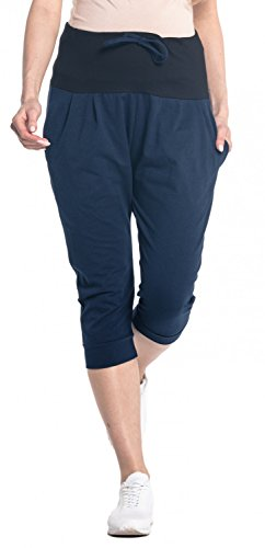 (Happy Mama. Womens Maternity Crop Pants Elastic Contrast Belly Waistband. 582p (Navy, US 12, XL))