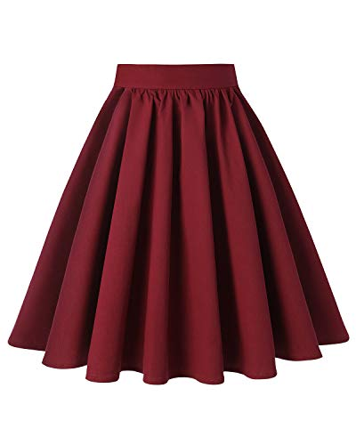 MINTLIMIT Women's Flower Print Midi Skirt High Waisted Knee Length Pleated A Line Skirts(Solid Wine Red,Size S)