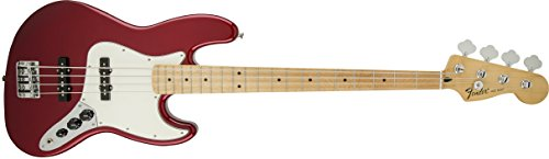 Fender Standard Jazz Electric Bass Guitar - Maple Fingerboard, Candy Apple Red (Passive Bass Electric)