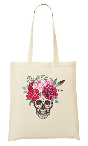ShutUp Beautiful Skull Flower Crown Colourful Bolso De Mano Bolsa De La Compra
