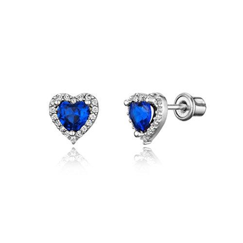 925 Sterling Silver Rhodium Plated Dark Blue Heart Cubic Zirconia Screwback Baby Girls Earrings (Sterling Plated Silver Heart)
