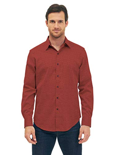 Robert Graham Cullen Long Sleeve Button Down Shirt Classic Fit Crimson Large by Robert Graham