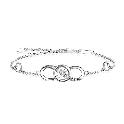 OneSight Women Infinity Love Bracelet, 925 Sterling Silver Adjustable Charm Forever Bracelet for Women Girls, White Gold and Rose Gold Colours