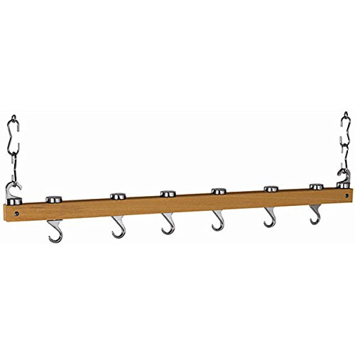 Dual Track Natural Wood Ceiling Pot Rack