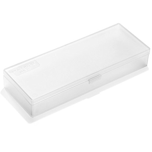 Unionway Transparent Pencil Case With Hinged Lid And 2 Snap Close Tabs Utility Mini Storage Tool Case For Holding Nails, Drill Bits,Comestic Brushes and More (TRANPARENT)