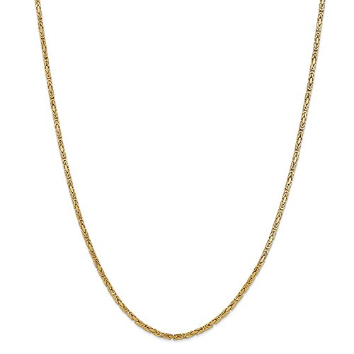 14K Yellow Gold 2mm Byzantine Chain Necklace, 24