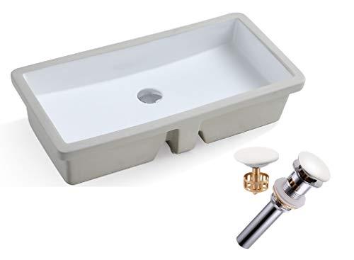 - KINGSMAN Rectrangle Undermount Vitreous Ceramic Lavatory Vanity Bathroom Sink Pure White (27.9 Inch with Pop-up Drain)