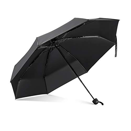 LeebotreeMini CompactSun&RainUmbrella - Lightweight Portable Outdoor Parasol for Women Men Kids, Windproof & 99.9% UV Protection (Black)