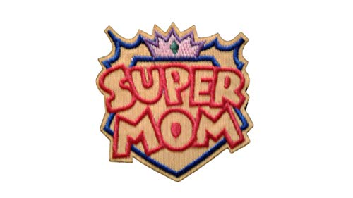 Super MOM Applique Embroidered Motif Fabric Love Mother Day Mum Scrapbooking Decal 2.2 x 2.2 inches (5.5 x 5.5 ()