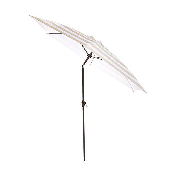 AmazonBasics - JC014 - Ombrellone da giardino, 2,74 m, a righe beige e bianche 2 spesavip