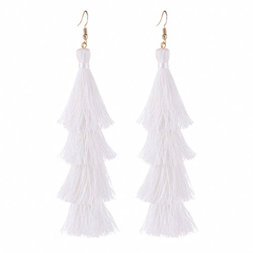 00b73cbfe4dc04 ELEARD Tassel Earrings Tiered Thread Tassel Dangle Earrings Statement Layered  Tassel Drop Earrings White