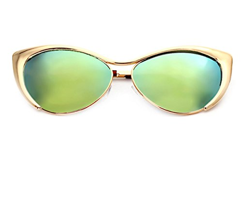 Heartisan Colorful Cat Eye Reflective Lens Full Rim Metal Frame Sunglasses - Australia Sunglasses Bulk