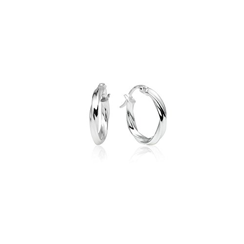 - LOVVE Sterling Silver High Polished Twist Round Click-Top Hoop Earrings, 2x15mm