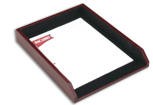 Dacasso Burgundy Leather Letter Tray by Dacasso