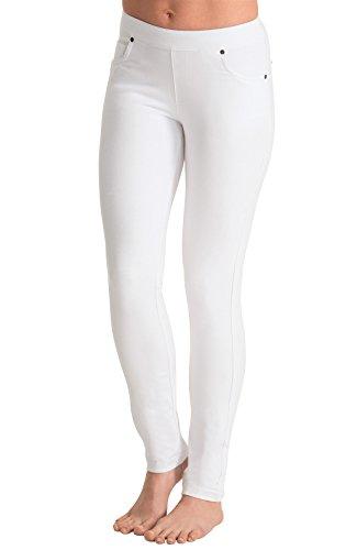 (PajamaJeans Women's Lightweight Skinny Stretch Denim Jeans, White, Small 4-6)