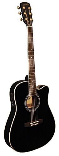 Acoustic Folk Guitar Body (INDIANA I-TB2BK Thin Body Acoustic Electric Guitar - Black)