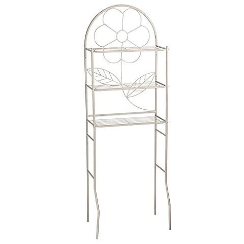 Adeco Flower Design Bathroom Storage Space Saver 3 Shelves Grey Finish - Above Storage Bed Sets