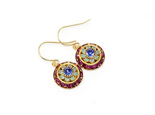 Mint Swarovski - Vintage Swarovski Crystal Flower Earrings - Pink, Mint Green and Purple