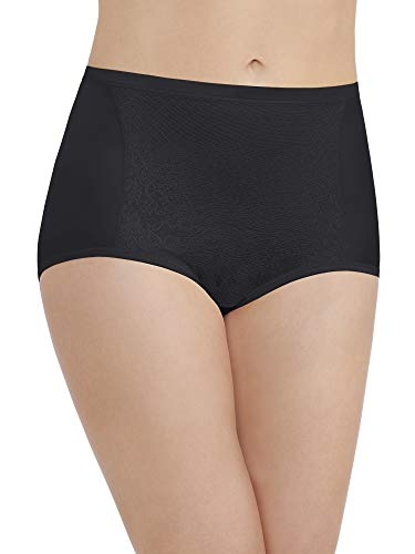(Vanity Fair Women's Smoothing Comfort with Lace Brief Panty 13262, Midnight Black, X-Large/8)
