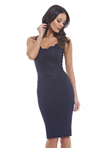 UPC 889020043101, AX Paris Women's Thin Straps Lace Top Bodycon Dress(Navy, Size:6)