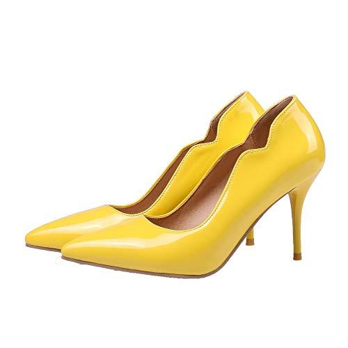 Flats Luccichio A Ballet Spillo Tirare AgooLar Puro Tacco GMMDB005893 Donna Giallo I1UwxqqO8