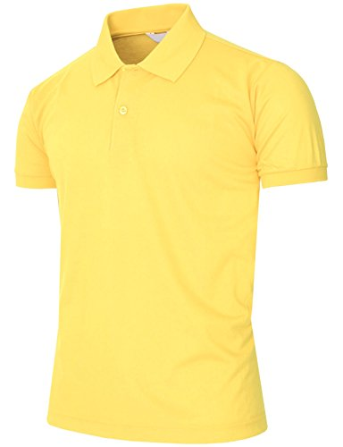 BCPOLO Men's Polo Shirt Pique T-Shirt Short Sleeve Polo Shirt Various color Light-Yellow-M (Classic Solid Pique Polo)
