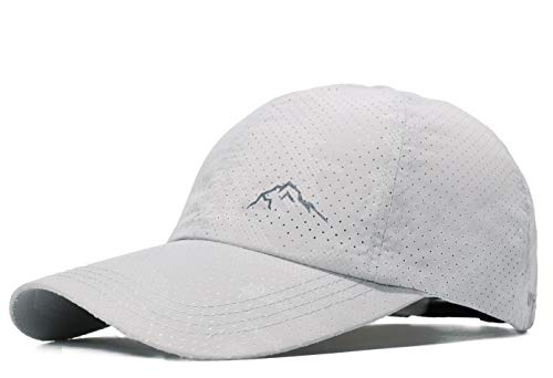 ELLEWIN Mesh Baseball Cap Quick Dry Cooling Sun Hat Unstructured Portable Sports Camo Cap for Hiking Golf Running Tennis (C-Mesh Cap-Light Grey-M/L)