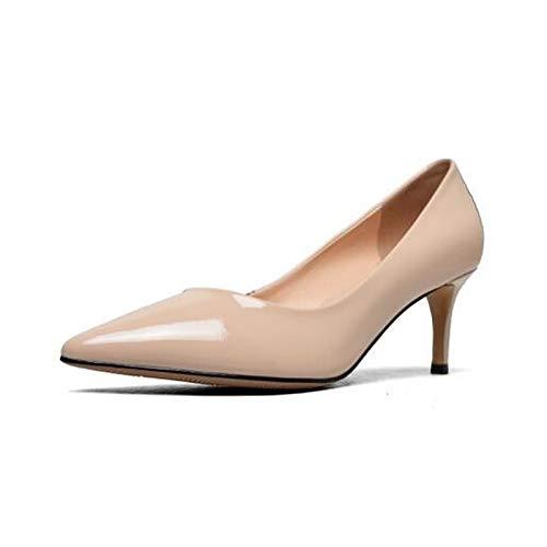 Almendra Cuero Confort QOIQNLSN Tacones De Zapatos Almond Nappa Mujer Primavera Talón Stiletto Negro xP6Tpq6w