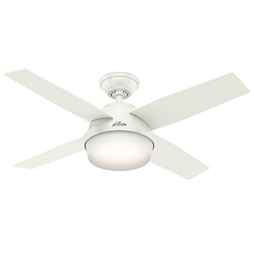 Hunter Indoor Ceiling Fan with light and remote control - Dempsey 44 inch, White, 59246
