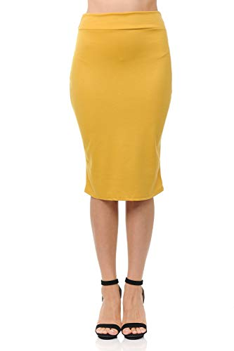 Knee Stretchy Midi Pencil Skirt for Office Wear Mustard M ()