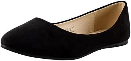 Bella Marie Angie-53 Women's Classic Pointy Toe Ballet Slip On Suede Flats