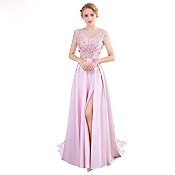 SSYFashion Luxury Pink Satin Lace Flower Evening Dress V-neck Sleeveless Formal Prom Gown