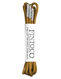 Fintoco Round Waxed Designer Dress Shoelaces with Metal Tips