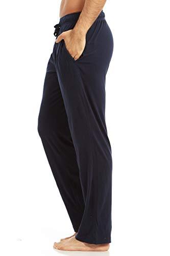 Cotton Jersey Knit Pants - DARESAY Men's Jersey Cotton/Modal Knit Lounge Pajama Pants with Pockets, Solid Colored Pants, Dark Navy, Medium