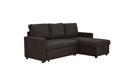 ACME Hiltons Charcoal Linen Sectional Sofa with Sleeper and Storage (Sofa Small For Spaces Sectional Small)