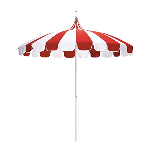 California Umbrella 8.5' Pagoda Series Patio Umbrella with Aluminum Pole Steel Wire Ribs Push Lift with Pacifica Natural & Red Fabric