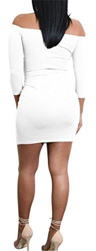 Bodycon Shoulder Cruiize White Bandage Dresses Off Midi Womens Basic Club YxwwHqSAC