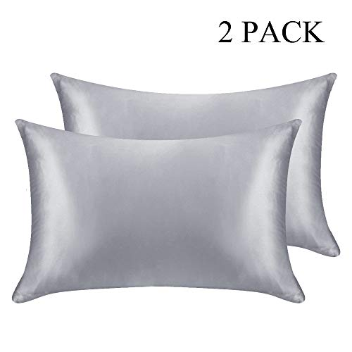 DOMIKING Silk Satin Pillowcase - 2 Pack Pillow Cases Queen Size/King Size for Hair and Skin Ultra Soft and Comfortable (Grey Satin, King)